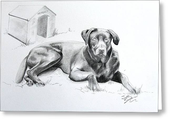 Dog Pencil Greeting Cards - Hershey Greeting Card by Joette Snyder