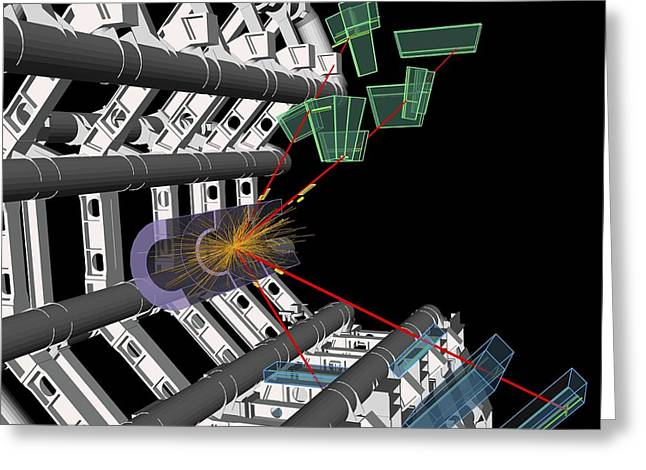 Particle Detector Greeting Cards - Higgs boson research, ATLAS detector Greeting Card by Science Photo Library
