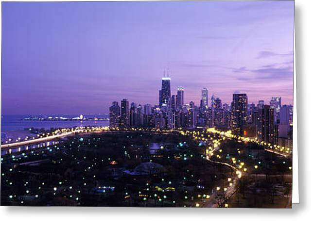 Winter Night Greeting Cards - High Angle View Of A City At Night Greeting Card by Panoramic Images