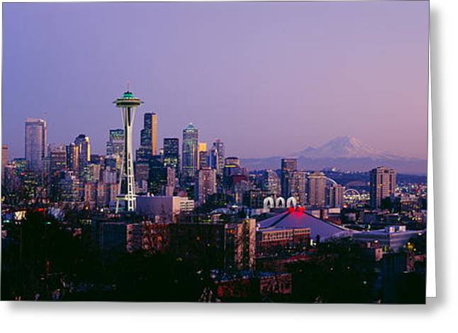 Ocean Photography Greeting Cards - High Angle View Of A City At Sunrise Greeting Card by Panoramic Images