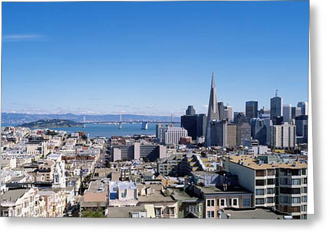 San Francisco Bay Greeting Cards - High Angle View Of A City, Coit Tower Greeting Card by Panoramic Images