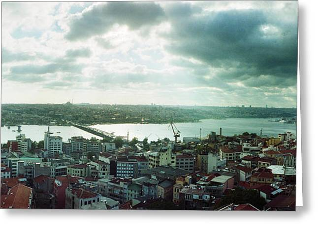 Istanbul Greeting Cards - High Angle View Of A City, Istanbul Greeting Card by Panoramic Images
