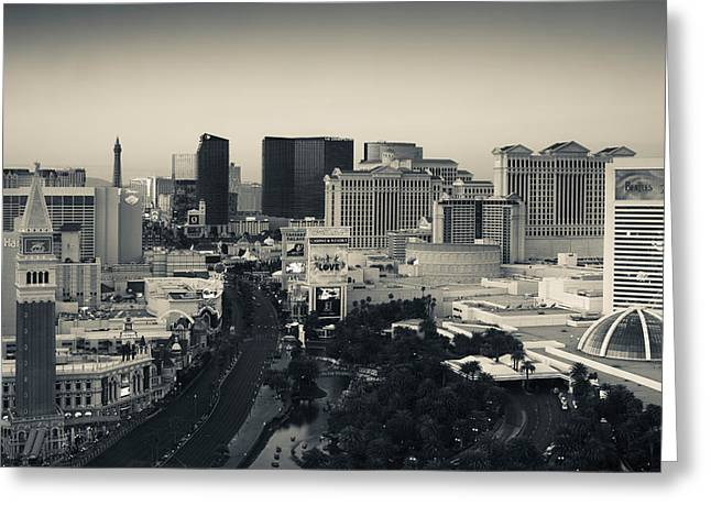 Las Vegas Greeting Cards - High Angle View Of A City, Las Vegas Greeting Card by Panoramic Images