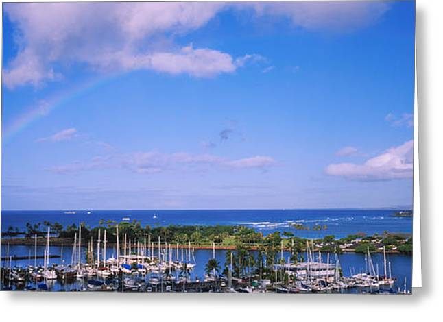 Infinite Greeting Cards - High Angle View Of Boats, Ala Wai Greeting Card by Panoramic Images