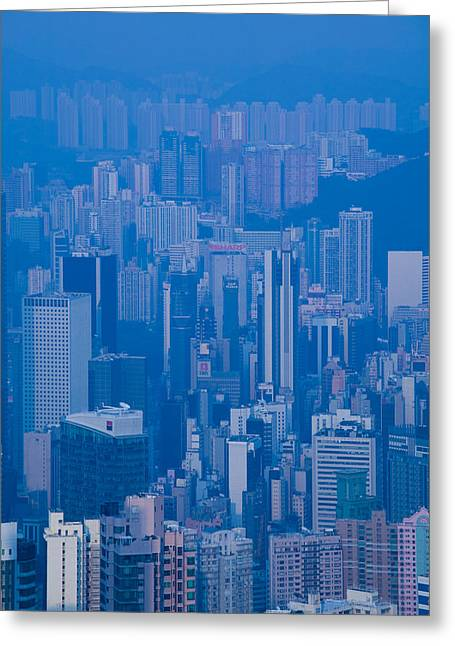 Hong Kong Island Greeting Cards - High Angle View Of Buildings Greeting Card by Panoramic Images
