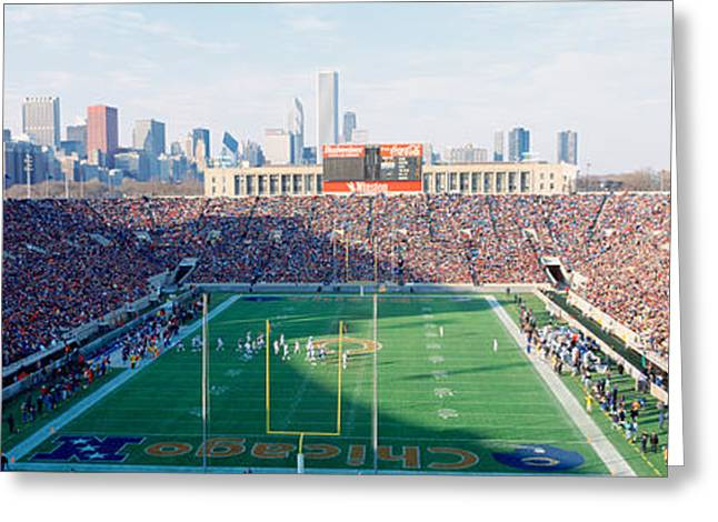 Football Field Greeting Cards - High Angle View Of Spectators Greeting Card by Panoramic Images