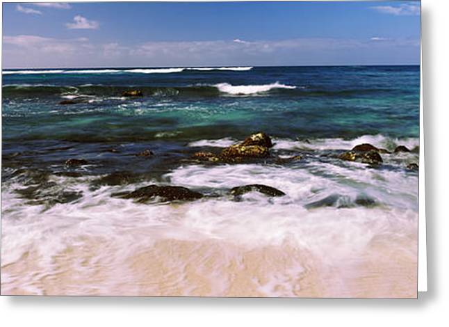 Ocean Photography Greeting Cards - High Angle View Of Surf At The Coast Greeting Card by Panoramic Images