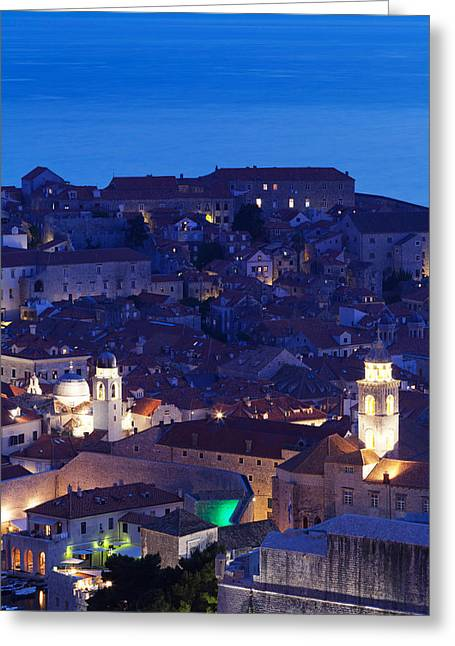 Dubrovnik Greeting Cards - High Angle View Of The Old Town Greeting Card by Panoramic Images