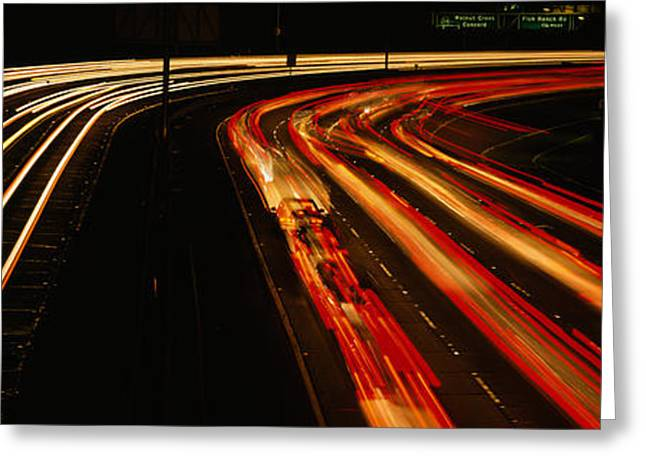 Roadway Greeting Cards - High Angle View Of Traffic On A Road Greeting Card by Panoramic Images