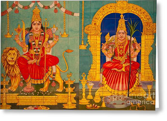 Hindu Goddess Photographs Greeting Cards - Hindu God Greeting Card by Niphon Chanthana
