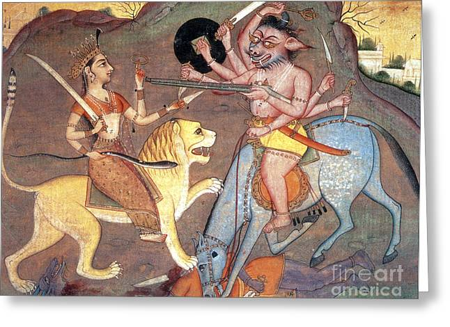 Hindu Goddess Durga Fights Mahishasur Greeting Card by Photo Researchers