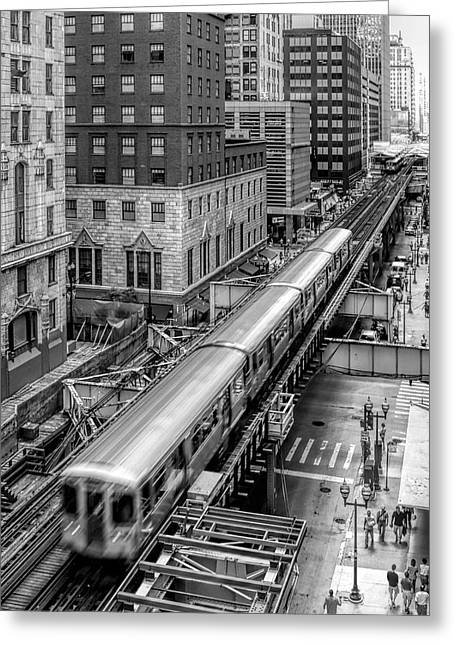 Blurred Motion Greeting Cards - Historic Chicago El Train Black and White Greeting Card by Christopher Arndt