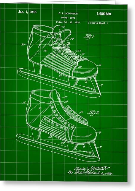 Antique Skates Greeting Cards - Hockey Shoe Patent 1934 - Green Greeting Card by Stephen Younts