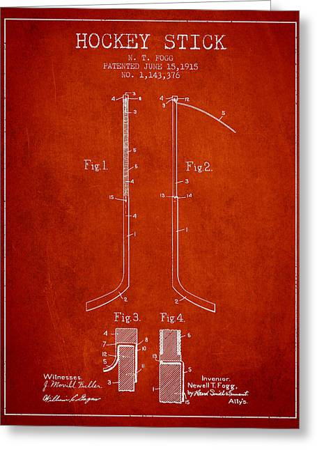 Hockey Art Greeting Cards - Hockey Stick patent Drawing from 1915 Greeting Card by Aged Pixel