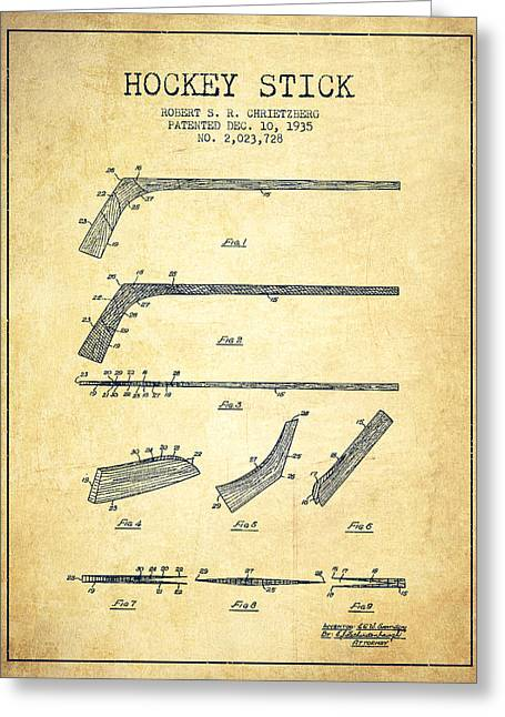 Hockey Greeting Cards - Hockey Stick Patent Drawing From 1935 Greeting Card by Aged Pixel