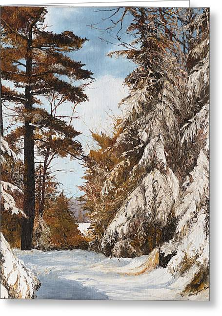 Holland Lake Lodge Road - Montana Greeting Card by Mary Ellen Anderson