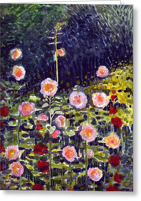 Hollyhocks Greeting Cards - Hollyhocks Greeting Card by Katherine Miller