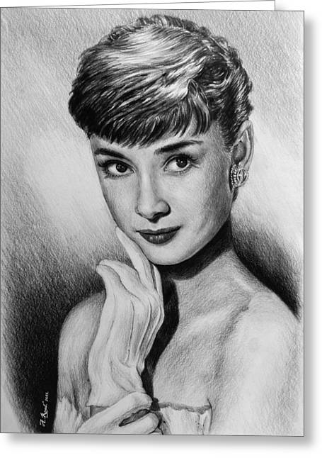 Hand Drawn Greeting Cards - Hollywood Greats Hepburn Greeting Card by Andrew Read