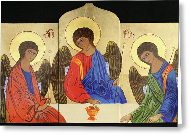 Holy Trinity Icon Greeting Cards - Holy Trinity Greeting Card by Amy Reisland-Speer