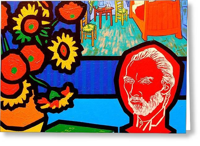 Arles Greeting Cards - Homage To Vincent Van Gogh Greeting Card by John  Nolan