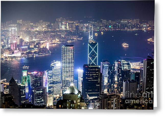 Kowloon Greeting Cards - Hong Kong harbor from Victoria peak at night Greeting Card by Matteo Colombo
