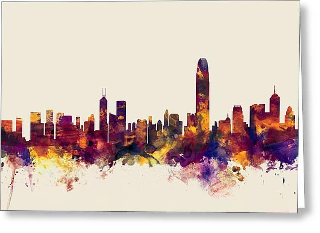 Hong Kong Greeting Cards - Hong Kong Skyline Greeting Card by Michael Tompsett