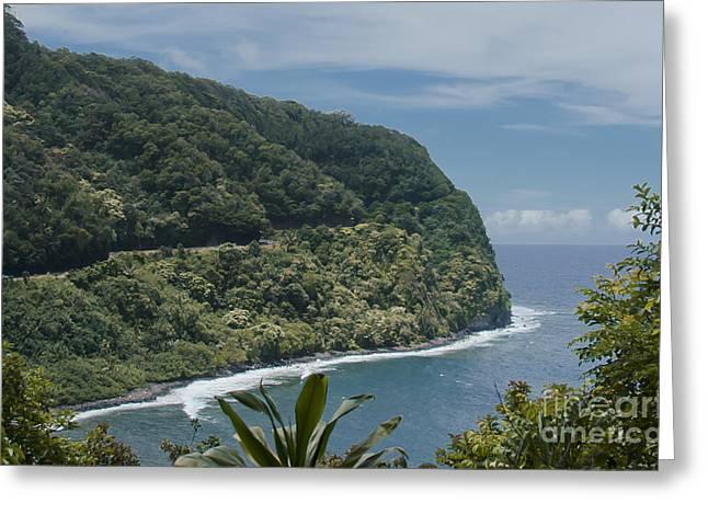 Paradise Road Greeting Cards - Honomanu - Highway to Heaven - Road to Hana Maui Hawaii Greeting Card by Sharon Mau
