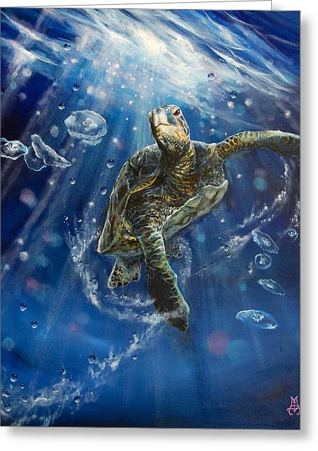 Jellyfish Greeting Cards - Honus Dance Greeting Card by Marco Antonio Aguilar