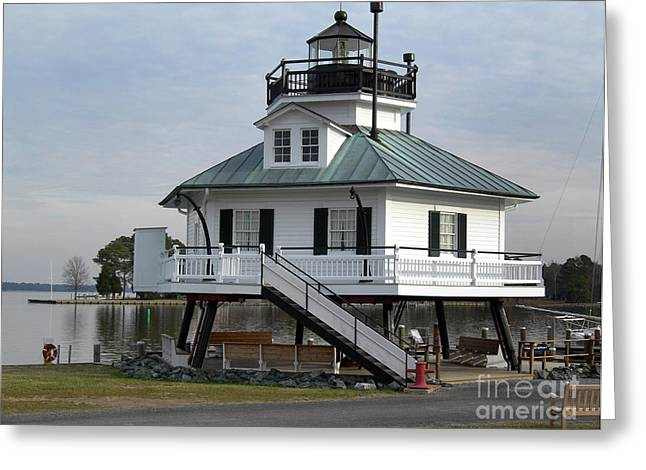 Ocean Art Photos Greeting Cards - Hooper Straight Lighthouse Greeting Card by Skip Willits