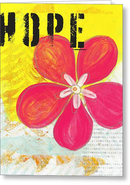 Blossoms Mixed Media Greeting Cards - Hope Greeting Card by Linda Woods