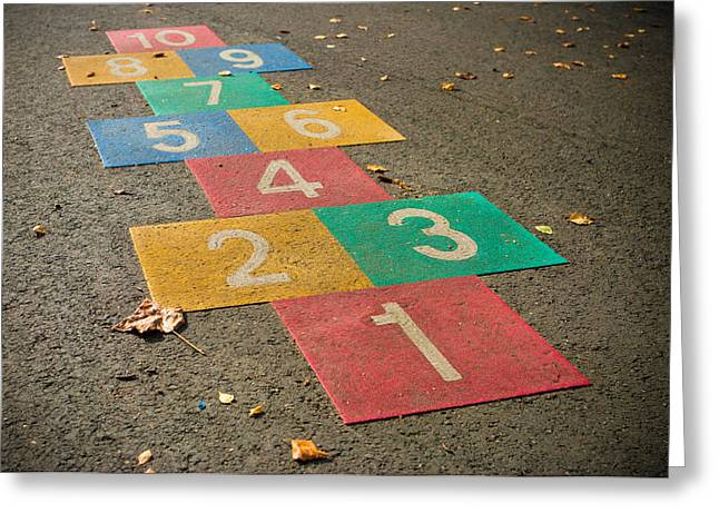 Schoolyard Game Greeting Cards - Hopscotch Game Greeting Card by Hans Engbers