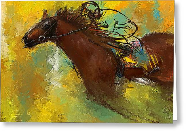 Henry Greeting Cards - Horse Racing Abstract Greeting Card by Lourry Legarde