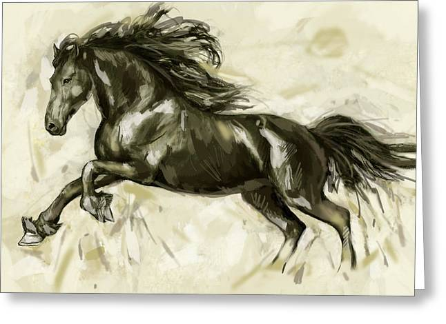 Horses Mixed Media Greeting Cards - Horse Stylised Pop Art Drawing Potrait Poser Greeting Card by Kim Wang