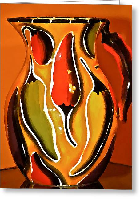 Pottery Pitcher Greeting Cards - Hot Peppers Greeting Card by Catherine Renzini