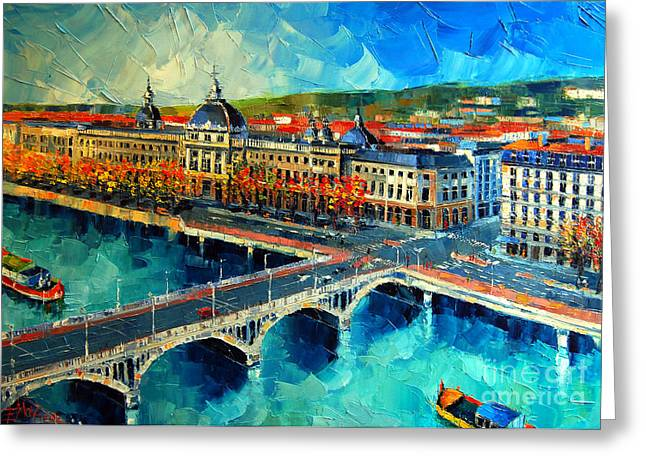 Reflections In River Greeting Cards - Hotel Dieu De Lyon Greeting Card by Mona Edulesco