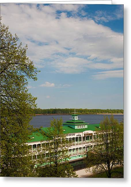 Riverboats Greeting Cards - Hotel Volzhskaya Zhemchuzhina, Volga Greeting Card by Panoramic Images