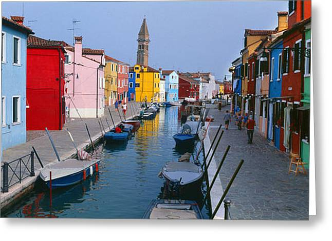 Residential Structure Greeting Cards - Houses Along A Canal, Burano, Venice Greeting Card by Panoramic Images