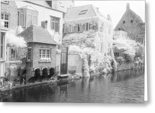 Residential Structure Greeting Cards - Houses Along A Channel, Bruges, West Greeting Card by Panoramic Images