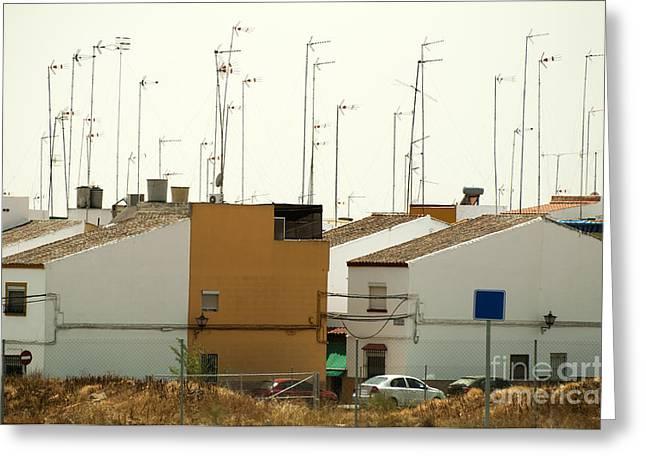 Houses and antennas Greeting Card by Deyan Georgiev