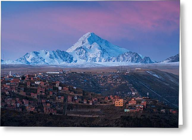 Highlands Greeting Cards - Huayna Potosi Mountain Greeting Card by Eric Bauer