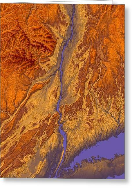 Landform Digital Greeting Cards - Hudson River Valley Map Art Greeting Card by Paul Hein