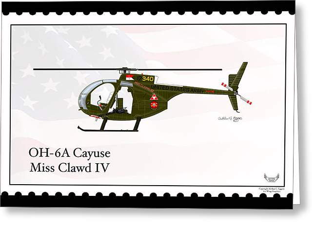 Enforcer Greeting Cards - Hughes OH-6A Cayuse Miss Clawd IV Greeting Card by Arthur Eggers