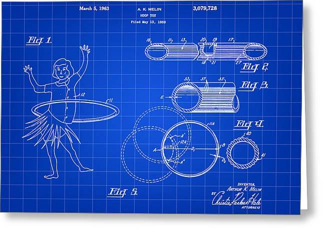 Hula Hoop Greeting Cards - Hula Hoop Patent 1959 - Blue Greeting Card by Stephen Younts