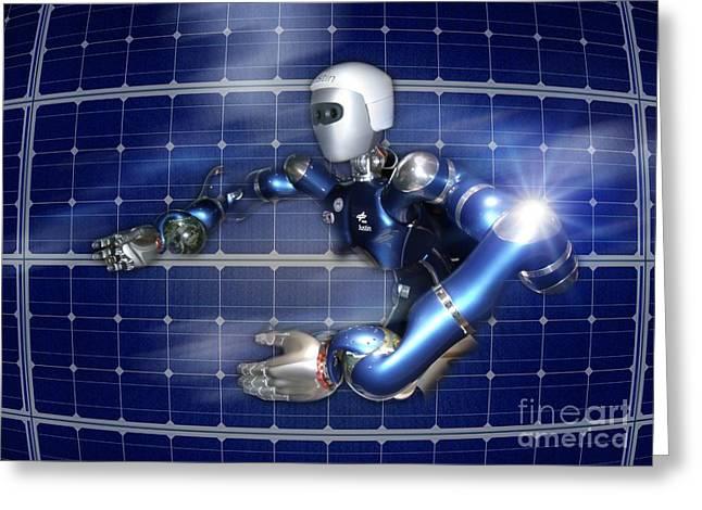 Future Tech Greeting Cards - Humanoid Robot, Artwork Greeting Card by Detlev van Ravenswaay