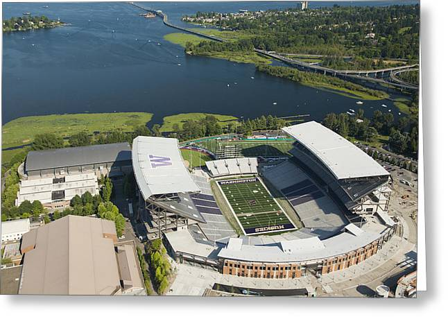 Oblique Greeting Cards - Husky Stadium At The University Greeting Card by Andrew Buchanan/SLP