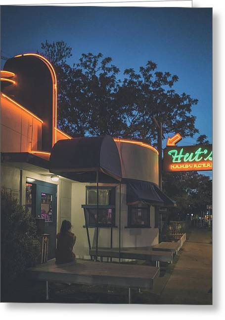 Night Cafe Greeting Cards - Huts Hamburgers Greeting Card by Mountain Dreams