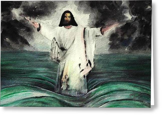 Jesus Walking On Water Greeting Cards - I AM Will Calm Your Sea Greeting Card by Hazel Holland