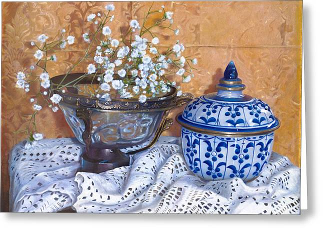 Interior Still Life Paintings Greeting Cards - i fiori di Linda Greeting Card by Danka Weitzen