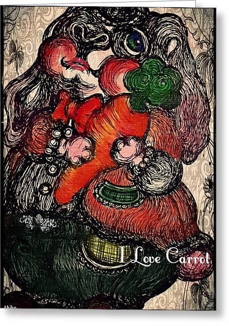 Analog Paintings Greeting Cards - I Love Carrot Greeting Card by Akiko Kobayashi
