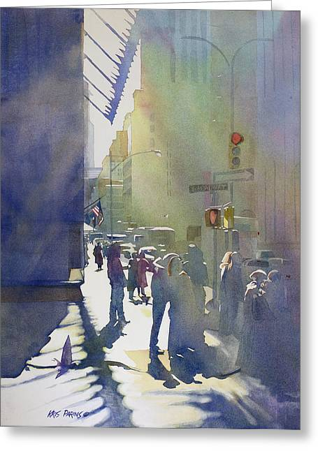 Backlit Paintings Greeting Cards - I Saw the Light at 44th and Broadway Greeting Card by Kris Parins